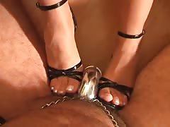 Insane bitch playing slaves chastised cock
