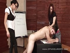 Intense threesome domination in the classroom