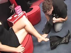 Superior foot domina boots tongue cleaned