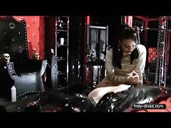 Lady Ashley in the dungeon with her chastised slave
