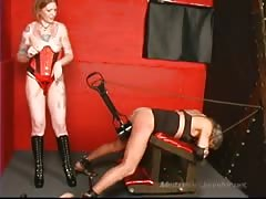 Red head mistress spank slaves ass