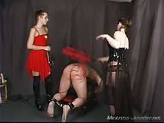 Mistress Noelle and Mistress Sarah giving punishment