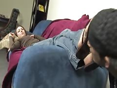 Submissive guy tongue clean his mistress feet