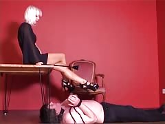 Devilish blonde with her pathetic foot slave
