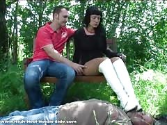 Slave for mistress white boots
