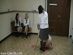 Abusive girls pony play in a closed room