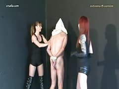 Two dangerous femdom girls governess punishment to bad slave