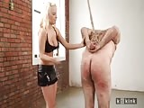 Leashed nude man ass mercilessly caned