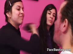They slap man's face as hard as they can