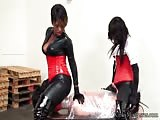 Face sitting session with two black dominatrix