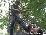 Mistress with muddy boots clean by slave