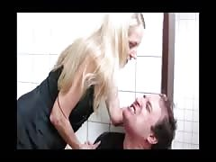 Blonde woman overpowers her man
