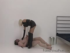 Blonde mistress governess punishment to slave
