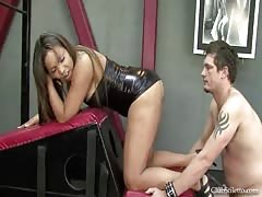 Slave is tasked to lick Mistress Roxy's cum fart