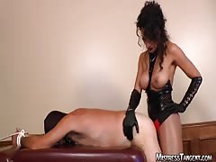 Extremely voracious mistress  pegging the slave boy