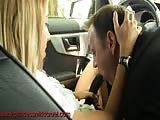 Femdom strapon blow job in the car