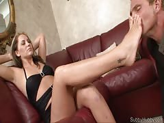 Worshiping feet of her femdom boss in the office