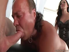 Spit roasted with strapon and hard dick