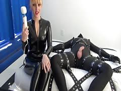 Pretty BDSM mistress hard teasing game for bondage slave