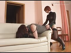 Sissy slave ass fucked with strapon