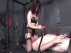 Helpless fat slave smothred in the face and tormented