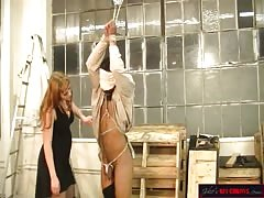 Captured blindfolded suffer punishment from  a brutal mistress