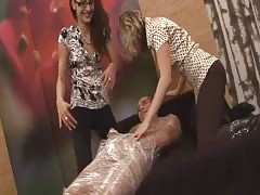 Plastic wrapped sub man dominated