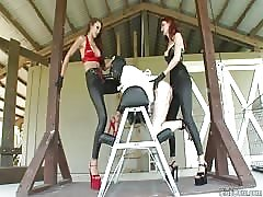 Worthless fool double pegged by strapon mistresses