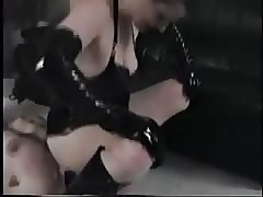 She gets her pussy licked before pegging her slave