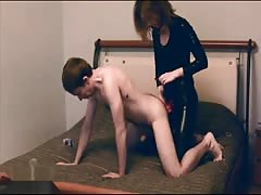 Pegging the submissive dude