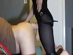 Dominatrix pegging poor male victim