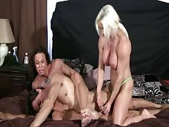 Busty muscled ladies mixed wrestling humiliation