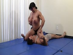 Smother slave of a muscle femdom fighter