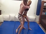 Crushing a guy with her wrestling skills