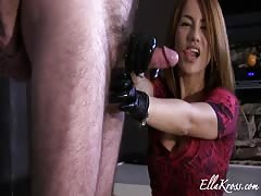 Latex gloves handjob
